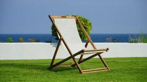 table on grass near beach